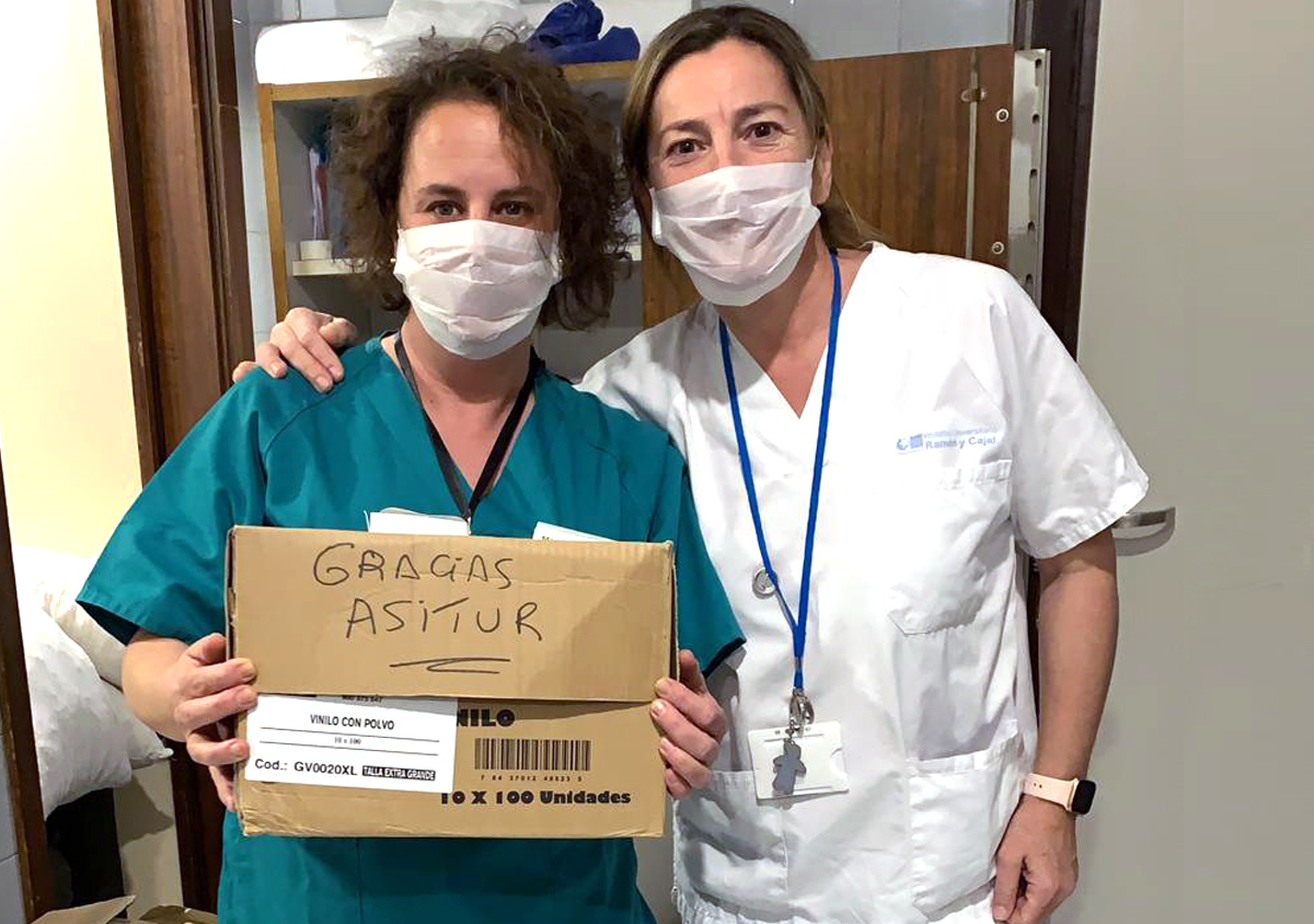 Asitur dona sus existencias de mascarillas al Hospital Ramón y Cajal